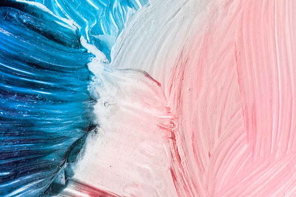 blue and pink abstract painting